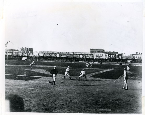 "Polo Grounds, Opening Day, April 29, 1886, shot from the stands with Kodak's new ""detective camera""; Richard Hoe Lawrence."