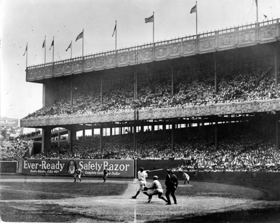 18. Babe Ruth hits one out at the Polo Grounds, ca. 1920; photographer unknown.