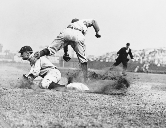 2. Ty Cobb (Detroit Tigers) sliding into Jimmy Austin (NY Highlanders); Charles M. Conlon, 1909-10.