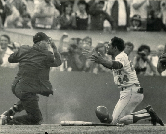 24. Willie Mays, near the end of his great career, pleading an out call at home plate, 1973 World Series, Game Two; Russ Reed.