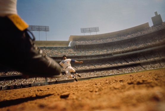 8. Willie Davis, shot from remote camera, second base, Dodger Stadium, April 25, 1965; Neil Leifer.