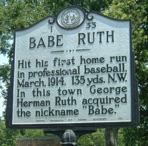 Ruth in Fayetteville, first professional home run.