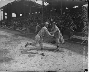Ruth warming up, 1918 World Series.