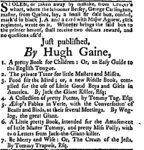 Hugh Gaine, ad for Little Pretty, 1762.
