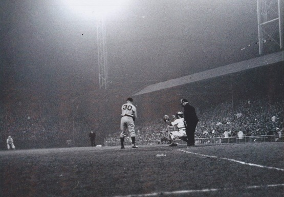 The REds' Ethan Allen at bat in the first night game, May 24, 1935 at Crosley Field