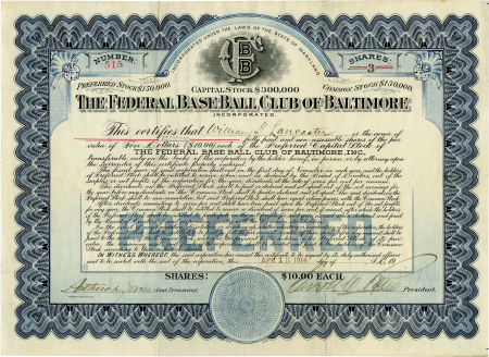 1914 Federal League Stock Certificate, Baltimore