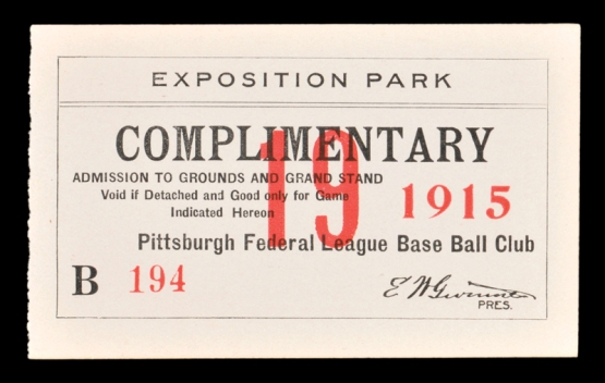 1915 Pittsburgh Rebels Federal League Ticket