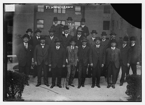 Federal League officials: (top row) Weeghman, W. Ward, Comstock; (middle row) L. Goldman, R. Ward, Steininger, Gilmore, G. Ward, Schleunes, Walker, Robertson, George, Carroll; (bottom row) Krause, Ball, H. Goldman, Mullen, Rickart, Hanlon, Gates