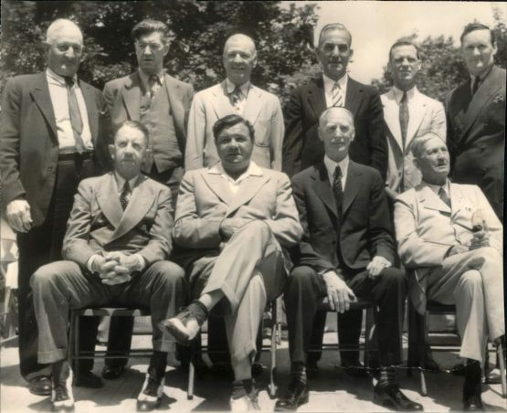 JUne 12, 1939. Top, l-r: Wagner, Alexander, Speaker, Lajoie, Sisler, John. Seated, l-r: Collins, Ruth, Mack, Young.