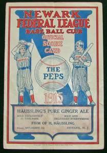 Newark Peppers 1915 scorecard