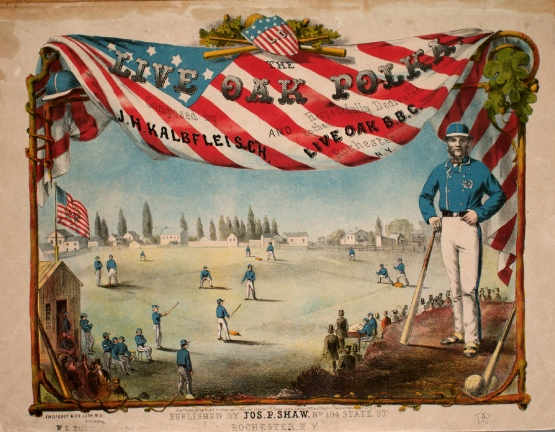 First played in England, baseball has always been about America. Live Oak Polka, 1860.