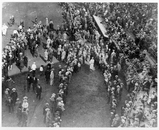 Smokey Joe Wood warmed up amid a big crowd at Fenway Park in 1912