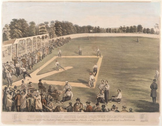 2. The second great match game for the championship, between the Athletic Base Ball Club of Philadelphia and the Atlantics of Brooklyn, on the grounds of the Athletics, Fifteenth & Columbia Avenue, Phila., Oct. 22nd, 1866. [graphic] / Drawn & published by J.L. Magee, S.E. cor. 3rd & Dock Sts. Philada.