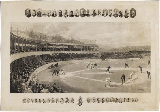 Temple Cup game at Polo Grounds, 1894, by Henry Sandham