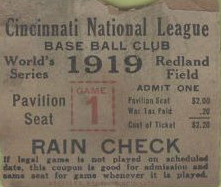 1919 Cincinnati Game One WS ticket