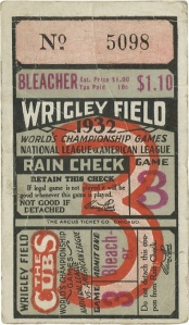 1932 WS, Babe Ruth 'Called Shot' Game Ticket