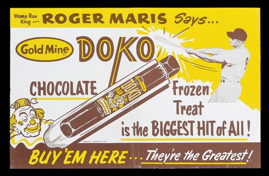 1962 Roger Maris Ice-Cream Advertising Poster