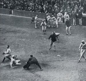 Casey Stengel of Giants, inside the park homer, Game One, 1923 World Series.