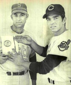 Dave Baldwin and Eddie Leon, with new Milwaukee Brewers logo; spring training, 1970.