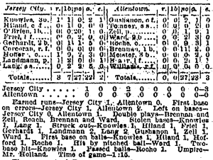 NY Tribune box score of Landmann's debut game