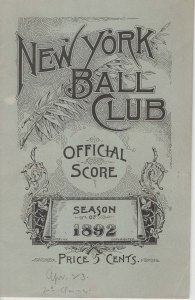 New York Giants scorecard, 1892