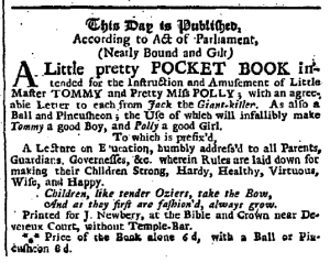 May 19, 1744 ad in Daily Gazetteer