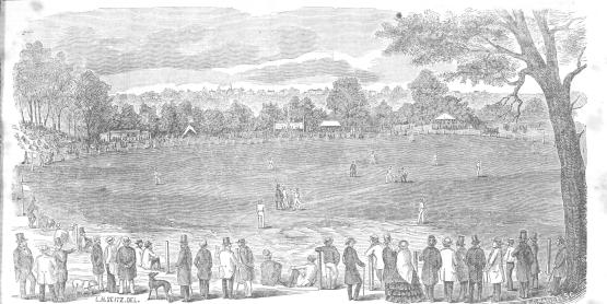Cricket Match at Hoboken, Canda vs. U.S., Sept. 9-10, 1856. 10, 1856, Clipper, Sept 27.