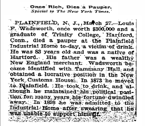 Wadsworth Obit, NYT, March 28, 1908