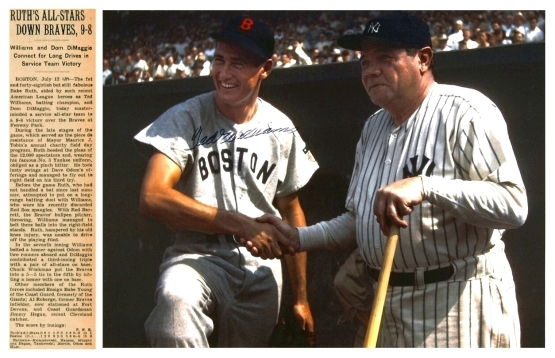 Ted Williams and Babe Ruth, July 12, 1943