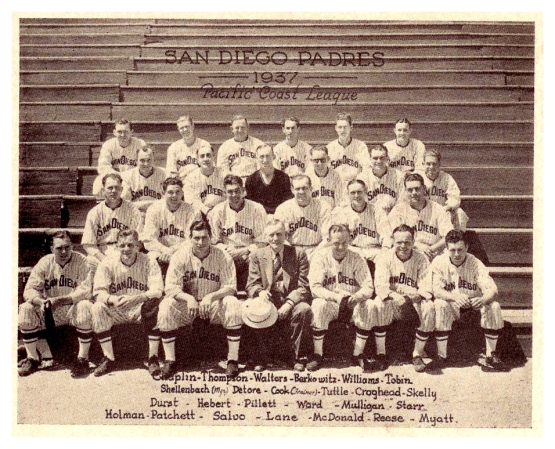 San Diego Padres 1937 with Ted Williams