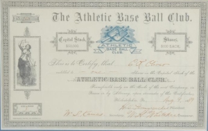 Athletic Base Ball Club Stock Certificate, 1889