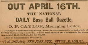 Ad for the new paper; Sporting Life, April 6, 1887