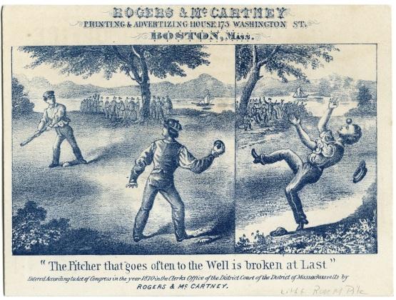 Yale vs Lowell scorecard, 1870