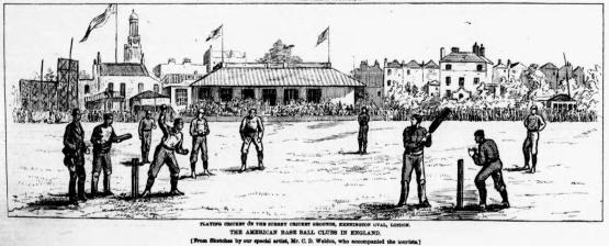 Baseball Players at Cricket, England 1874