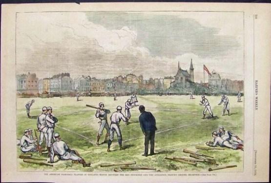 Boston vs Philadelphia, England Tour; Harper's Weekly 1874
